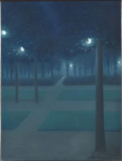 William Degouve de Nuncques - Nocturne au Parc Royal de Bruxelles