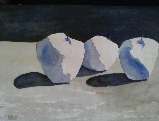 Apples in Blue - Watercolor
