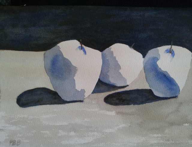 Apples in Blue - Watercolor