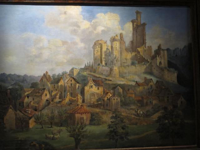 Painting of the castle during its revolutionary destruction.
