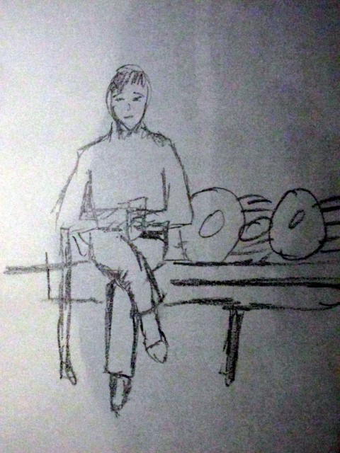 Man on a Bench - Pencil